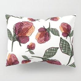 Prairie Rose Flower in Red and Orange Pillow Sham