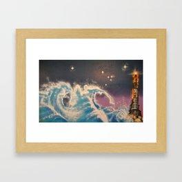 The Lighthouse and The Sea - illustration - graffiti - mural - landscape - spray paint Framed Art Print
