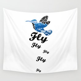 Flying Bird with Clouds Wall Tapestry