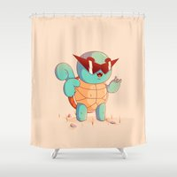 squirtle Shower Curtains featuring Squirtle by Daniel Mackey