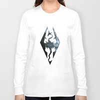 skyrim Long Sleeve T-shirts featuring Skyrim Dragon by Victor Velocity
