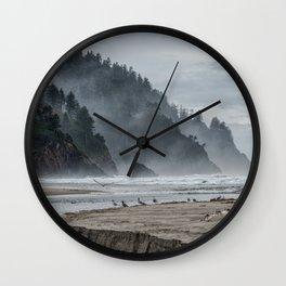 Hills And Mist At Proposal Rock Wall Clock