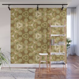 Abstract Gold Floral Wall Mural