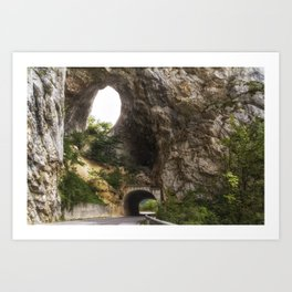 Tunnel on the road by Piva river canyon in the northern Montenegro. Art Print