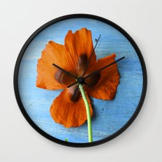 Red Poppy on Blue Wall Clock