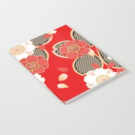 Japanese Vintage Red Black White Floral Kimono Pattern Notebook