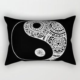 Black and White Lace Yin Yang Rectangular Pillow