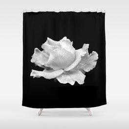 White Rose On Black Shower Curtain