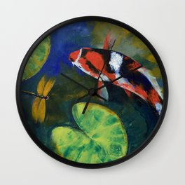 Showa Koi and Dragonfly Wall Clock