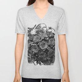 Roses (black and white) Unisex V-Neck
