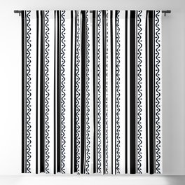 Black Stripes and Waves Blackout Curtain