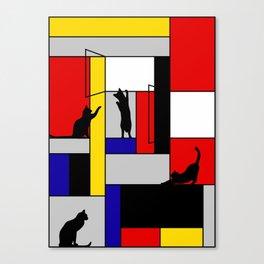 cat Mondrian Canvas Print