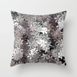 Silver and Dusty Rose Flower Garden Throw Pillow