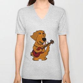 Funny Golden Retriever Dog Playing Guitar Artwork Unisex V-Neck