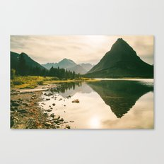 Mountain Reflecting the Lake in Many Glacier  Canvas Print