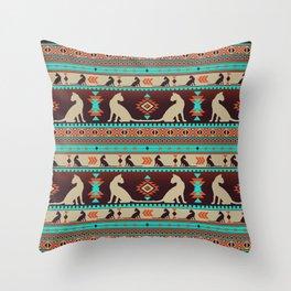 Boho cats | Oriental shorthair sunset Throw Pillow