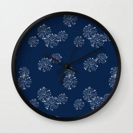 Shibori Scatter - Blue Wall Clock