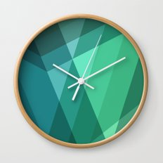 Fig. 046 Mint, Sea Green, Blue & Teal Geometric Wall Clock