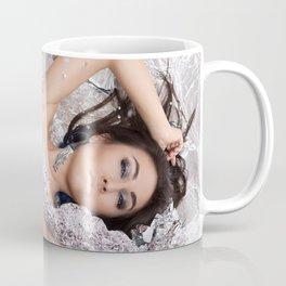 Nude woman with tattoo. Tattoo on woman body Coffee Mug