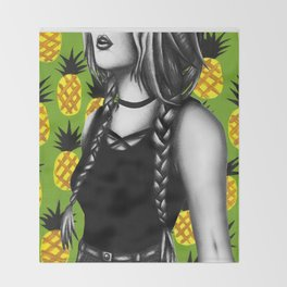 Summer Pinapples Throw Blanket