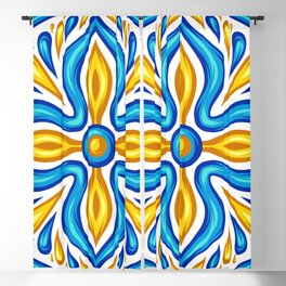 bohemian Colorful Yellow Turquoise Blue Mediterranean pattern Blackout Curtain