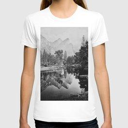 The Three Brothers, 3,818 feet, reflected, Yosemite, California by Carleton Watkins and Isaiah Taber T-shirt