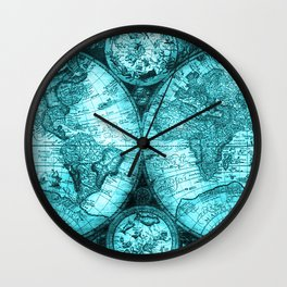 Turquoise Antique World Map Wall Clock