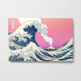 Great Wave Off Kanagawa Mount Fuji Eruption Gradient Metal Print