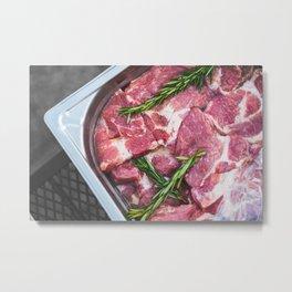 Marinated Beef Meat Metal Print