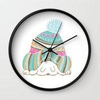 hat Wall Clocks featuring Hat by Samantha Eynon