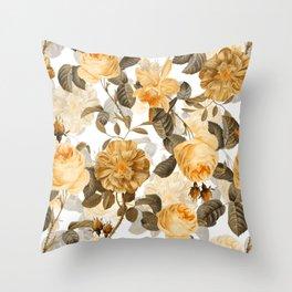 Vintage & Shabby Chic - Yellow Sepia Botanical Rose Flower Garden Throw Pillow