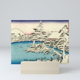 Snowy Dawn at Ryoan-ji Temple by Hasegawa Sadanobu - Japanese Vintage Ukiyo-e Woodblock Painting Mini Art Print