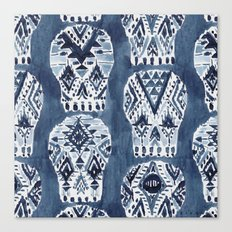 AZTEC MUERTOS Watercolor Indigo Skulls Canvas Print