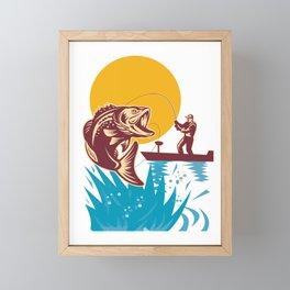 Vintage Retro Large Mouth Bass Fishing Gift For Men Framed Mini Art Print