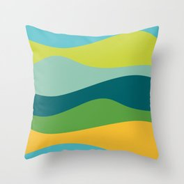 Smooth Waves in Springtime Colors Throw Pillow