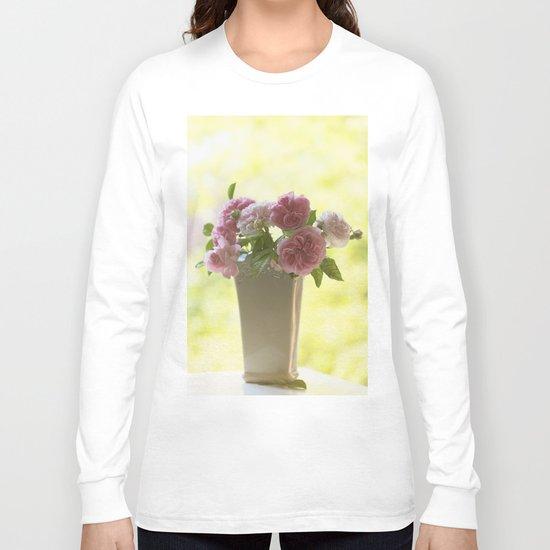 Pink English Roses in a vase- Vintage Rose Stilllife photography Long Sleeve T-shirt