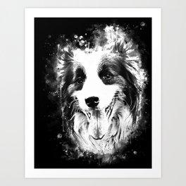 border collie shepherd dog splatter watercolor white Art Print