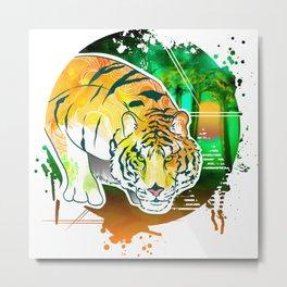 Tiger Pounce Metal Print
