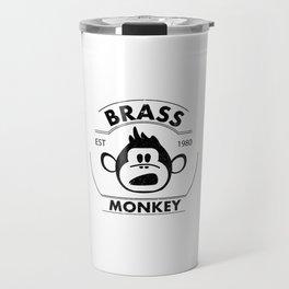 Brass monkey - vintage logo style with grange texture Travel Mug