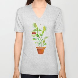 Venus Fly Trap Watercolor Unisex V-Neck