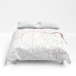 White on Rosegold London Street Map Comforters