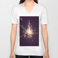 fireworks V-neck T-shirts featuring Fireworks by Machiine