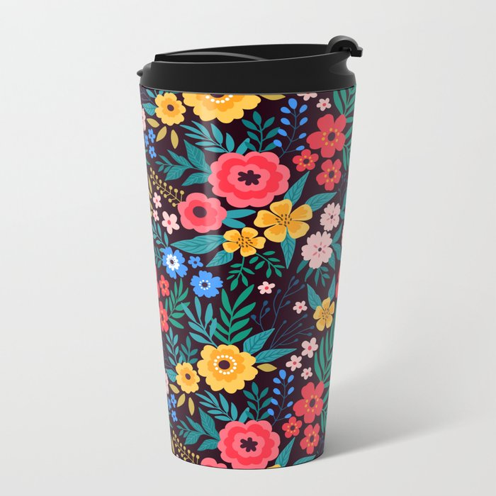 25 Amazing floral pattern with bright colorful flowers. Dark background. Metal Travel Mug