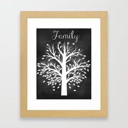 Family Tree Black and White Framed Art Print