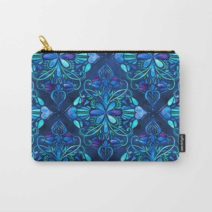 Deep Ocean Art Nouveau Watercolor Doodle Carry-All Pouch