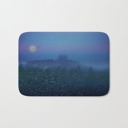 Castle ruin in a winter night Bath Mat