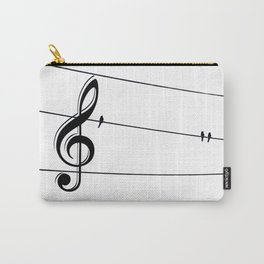 Natures Choir Birds on Wire Music Note A611W Carry-All Pouch