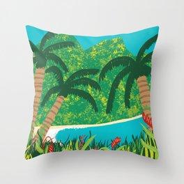 Tropical Island Getaway Throw Pillow