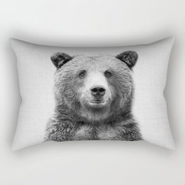 Grizzly Bear - Black & White Rectangular Pillow