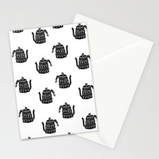 Kettle linocut black and white kitchen appliance coffee and tea water ketle Stationery Cards